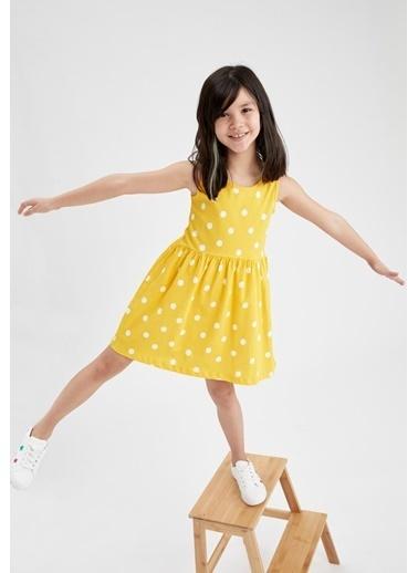DeFacto Kız Çocuk Puantiye Desenli Kolsuz Elbise Sarı